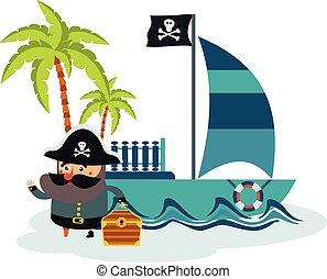 flat illustration of pirate and treasure island