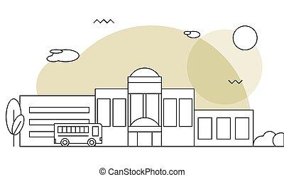 Flat illustration of school building