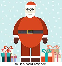 Flat illustration of smiling Santa Claus