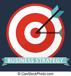 Flat illustration of target with arrows, strategy concept