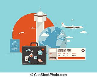 Flat illustration of travel on airplane
