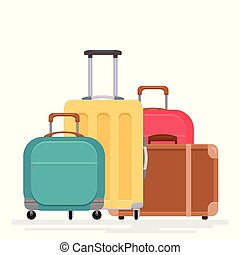 Flat illustration of various suitcases on a white background. Traveling with family.