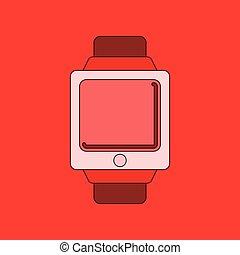flat illustration on background Digital Watch