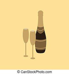 flat illustration on background of Champagne bottle and glasses