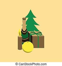 flat illustration on background of Christmas gift