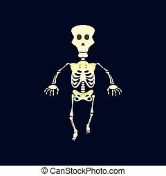 flat illustration on background of skeleton Halloween...