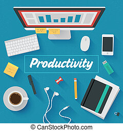 Flat Illustration: Productivity - Trendy Flat Design ...