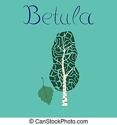 flat illustration stylish background plant Betula - flat...