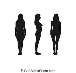 flat., illustration., tout, vue, silhouette, side., vecteur, femme