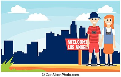 flat illustration welcome to united states, vector illustration