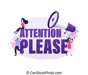 Flat illustration with attention people for concept design. Woman shout at the megaphone. Pay attention concept. Flat illustration. Vector illustration.