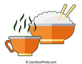 Flat illustration with cup of tea and rice - Beautiful flat...