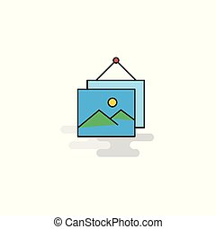 Flat Image frame Icon. Vector