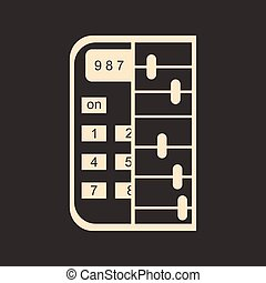 Flat in black and white abacus calculator