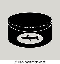 Flat in black and white Canned fish