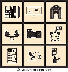 Flat in black and white concept economic icon