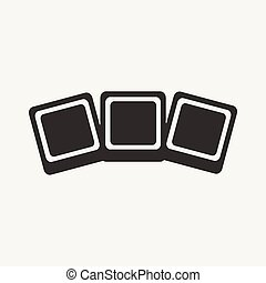 Flat in black and white mobile application photocards
