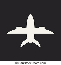 Flat in black and white mobile application plane