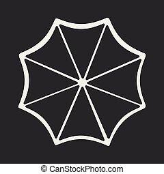 Flat in black and white mobile application un umbrella