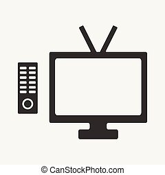 Flat in black and white mobile application tv