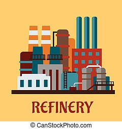 Flat industrial refinery with set of buildings, tanks, pipe...