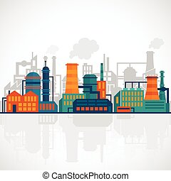 Factory flat industry background with manufactory production technology buildings vector illustration