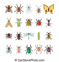 Flat insects icons set. Butterfly, dragonfly, spiders, ant isolated on white background