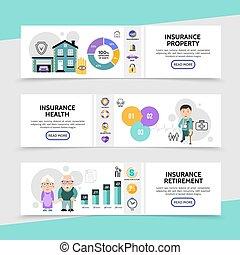 Flat Insurance Horizontal Banners