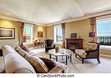 flat, interieur, met, openhaard, en, antieke , stijl, meubel