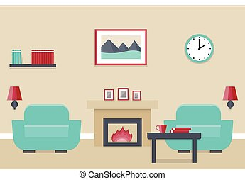 Flat interior living room.