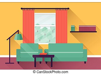 Tidy und untidy room. living room with armchair and book... vector ...