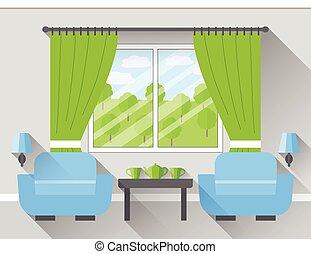 Flat interior living room. Vector.