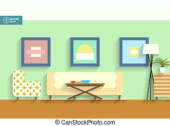 Flat interior room. Vector