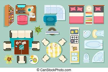 Flat Interior Top View. Pieces of Furniture Design