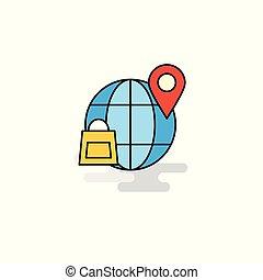 Flat Internet Icon. Vector