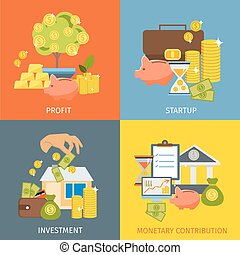 Flat Investment Icon Set