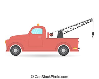flat isolated tow truck van car vector vehicle icon illustration pick-up auto