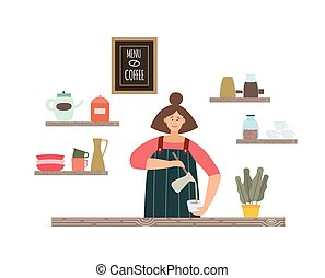 Flat isolated vector illustration of girl barista making coffee in coffee shop