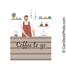 Flat isolated vector illustration of male baristas making coffee in coffee shop