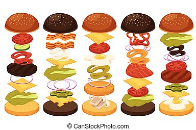 Flat isolated vector illustration of set of fast food with ingredients for cooking