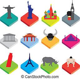 flat isometric 3d  icons of famous world landmarks on white