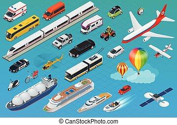 Flat isometric city transport icon set.