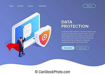 Flat Isometric database protection concept. Protect your files or photos on your desktop PC. Can use for web banner, infographics, hero images.