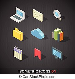 Flat Isometric Icons Set 1