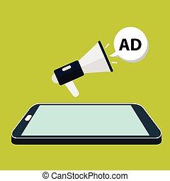 Flat isometric mobile phone marketing.