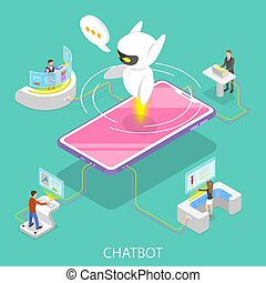 Flat isometric vector concept of chatbot, ai.