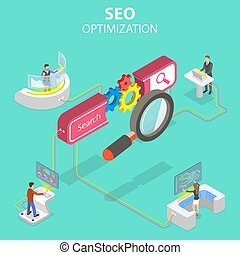 Flat isometric vector concept of search engine ranking, web analytics.