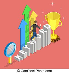 Flat isometric vector concept of tracking tool for keyword SEO ranking, web analytics, website optimization marketing.