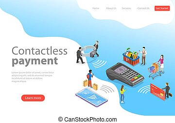 Flat isometric vector landing page template of contactless...