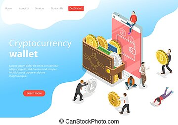 Flat isometric vector landing page template of...